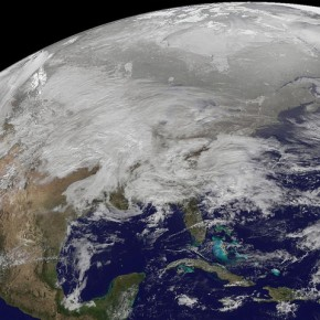 This is an actual satellite image of the blizzard engulfing North America.