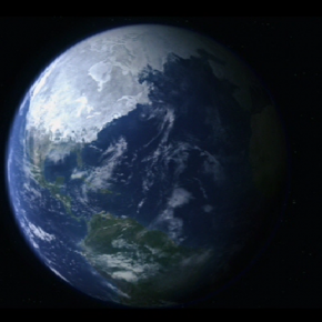 At the end of The Day After Tomorrow, a movie where a modern ice age occurs, this make-believe satellite image is shown.