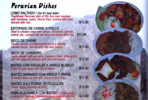 Taste of Peru Chicago Menu