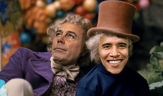 Obama Wonka Boehner and the Great Glass Debt Ceiling