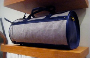 Libero Ferrero Canvas Duffel Bag with Ink Blue Leather